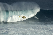 Laird Hamilton Photos - Going Left At Jaws by Bob Christopher