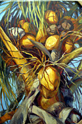 Tropical Plant Paintings - Going Nuts by Laurie Hein