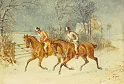 Snowfall Paintings - Going Out in a Snowstorm by Henry Thomas Alken
