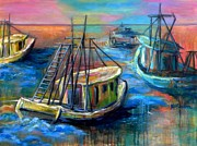 Shrimp Boat Paintings - Going Out by JoAnn Wheeler