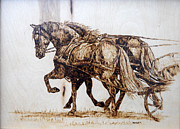 Horses Pyrography Prints - Going to Town Print by Melissa Fuller