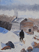 Snow Scene Painting Originals - Going Visiting by Dawn Dreibus