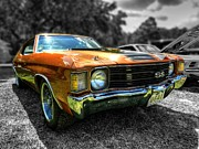 Gold Stock Framed Prints - Gold 72 Chevelle SS 001 Framed Print by Lance Vaughn