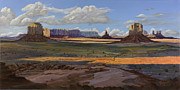 Tim Paintings - Gold Across the Valley Monument Valley by Timithy L Gordon