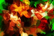 Botanical Fantasy Series - Gold And Red Blossoms  by David Lane