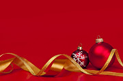 Greeting Photos - Gold and red Christmas decorations by Elena Elisseeva