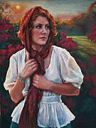 Pastel Portrait Pastels - Gold and Scarlet by Jean Hildebrant