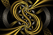 Fractal Designs Prints - Gold and Silver Print by Sandy Keeton