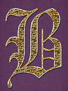 Gold B On Purple Print by Barbara Griffin