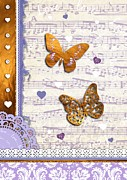 Pretty Girls Mixed Media Prints - Gold butterflies and purple music notes Print by Li Or