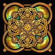 Celtic Spiral Posters - Gold Celtic Cross Poster by Richard Barnes