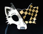 Mask Jewelry - Gold Checkered Fox by Fibi Bell