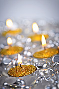 Wick Prints - Gold Christmas candles Print by Elena Elisseeva