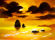 Serenity Landscapes Paintings - Gold  Coast by Shasta Eone