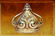 Princess Mixed Media Prints - Gold Crown Art Print Print by Adspice Studios