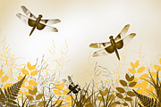 Blue Dragon Fly Prints - Gold Dragonfly Art Print by Christina Rollo