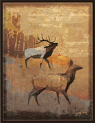 Elk Mixed Media - Gold dusk Elk 2 by Tracy Herrmann