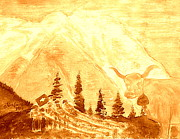 Switzerland Painting Originals - Gold Eiger Mountain above Grindelwald Switzerland 2 by Richard W Linford