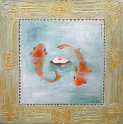 Symbole Painting Framed Prints - Gold Fish 2 Framed Print by Michal Shimoni