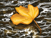 Autumn Leaf Paintings - Gold leaf by Veronica Minozzi