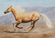 Wild Horses Painting Prints - Gold Lightning Print by Crista Forest