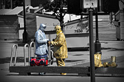 Talking Metal Prints - Gold man and silver man Metal Print by RicardMN Photography