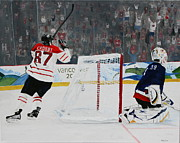 Sidney Crosby Posters - Gold Medal Goal Poster by Betty-Anne McDonald