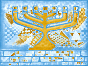 Menorah Paintings - Gold Menorah by Aiden Kashi