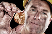 Grime Posters - Gold miner with nugget Poster by Joe Belanger