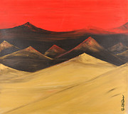 Print On Acrylic Framed Prints - Gold mountains 1 of 3 Framed Print by Roni Ruth Palmer