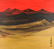 Print On Acrylic Framed Prints - Gold mountains 3 of 3 Framed Print by Roni Ruth Palmer