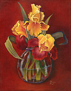 Folk Realism Paintings - Gold N Red Iris by Doreta Y Boyd