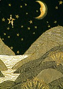 Stars Tapestries - Textiles Posters - Gold Night Poster by Jean Baardsen