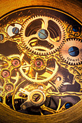 Watches Framed Prints - Gold pocket watch gears Framed Print by Garry Gay