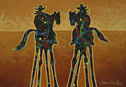 Original Cowboy Paintings - Gold Riders by Lance Headlee