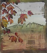 Autumn Landscape Tapestries - Textiles Posters - Gold Ridge Maple Poster by Carolyn Doe