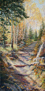 Autumn Trees Pastels Prints - Gold Rush Print by Mary Giacomini