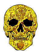 Scull Framed Prints Prints - Gold Scull Print by Mauro Celotti