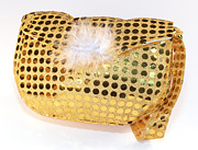 Sequin Metal Prints - Gold sequin purse Metal Print by Jo Ann Snover