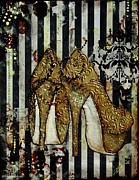 Striped Mixed Media Prints - Gold Sequined Shoes with Black and Ivory Striped Background Print by Janelle Nichol
