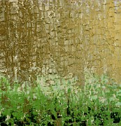  Large Format Painting Prints - Gold Sky Green Grass Print by Linda Bailey