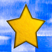 Rivets Art - Gold Star From Out Of The Blue by Mark E Tisdale