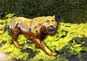 Color Green Posters - Gold Tiger in Foliage Poster by Linda Phelps