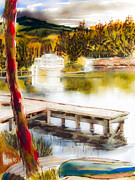 Canoe Mixed Media Prints - Golden Afternoon Print by Kip DeVore