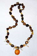 Featured Jewelry - Golden Amber Cabochon and Tiger-eye by Barbara Anna Knauf