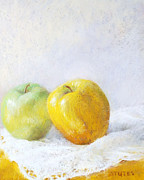 Apple Art Pastels Posters - Golden Apple Poster by Nancy Stutes
