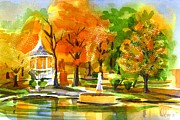 Reflection On Pond Prints - Golden Autumn Day 2 Print by Kip DeVore