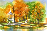 Reflection On Pond Prints - Golden Autumn Day Print by Kip DeVore