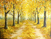 Romania Paintings - Golden Autumn by Petrica Sincu