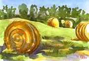 Water Colour Painting Originals - Golden Bales in the Morning by Kip DeVore
